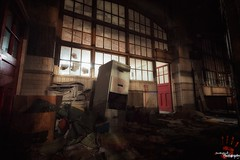 The Filing System (Dave Brightwell) Tags: longexposure light dark scary lowlight ruins shadows chairs rusty urbanexploration horror rays derelict rubble frightening urbex