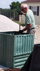 Mark loading compost bin