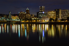 Portland (olijaeger) Tags: pdx cityscape city night exposure longexposure reflections reflection reflexion nachtfotografie oregon water willamette willametteriver lights architecture structures steelbridge hawthornebridge darkness black colors skyline buildings