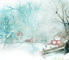 Fantasy (BirgittaSjostedt- away for a while.) Tags: fantasy creation winter snow house fence road forest texture birgittasjostedt