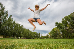 We are prepping for spring. (Flickr_Rick) Tags: outside woman girl summer shorts blonde breanne jump jumping jumpology