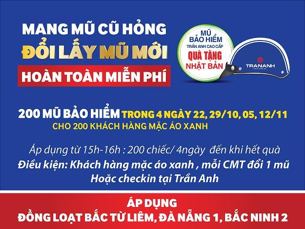 Trần Anh đổi mới miễn phí 600 mũ bảo hiểm cao cấp tại 3 siêu thị mới
