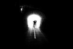 ( II ) (maekke) Tags: walensee streetphotography tunnel man woman couple availablelight highcontrast x100t fujifilm 2016 cycling bw noiretblanc