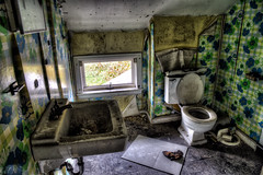The Maid's Day Off (Geoffrey Coelho Photography) Tags: old bathroom toilet sink dirty messy admandoned building home interior hdr creepy abstract architectural architecture spooky