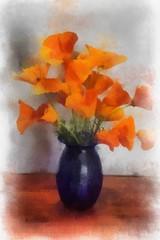 Poppies 2 (AdamsWife) Tags: poppies flowers plants spring yellow orange auto painter autopainter