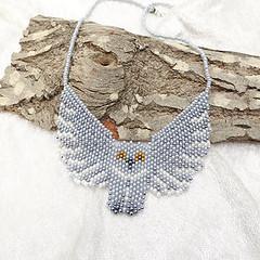 Beadwork Owl necklace (tinnas_slave_bracelet) Tags: necklace statement pearl beaded multi strand crystal gemstone pendant collar bib art beadwork jewelry choker lariat free form unique jewellery