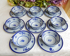 Spode Cream Soup Cups & Saucers ~ New Stone ~ Gloucester Y2989 (Donna's Collectables) Tags: spode cream soup cups saucers gloucester thanksgiving christmas