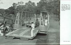 Sarawak Annual Report 1957 - vehicular ferry crossing at Batu Kitang on the road from Kuching to Bau, c1956 (mikeyashworth) Tags: sarawak batukintangriverferry c1956 kuching sungaisarawak sarawakannualreport1957 mikeashworthcollection vauxhall vauxhallvelox k2533