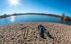 South (The.Mickster) Tags: sunburst wideangle portrait sand boise fisheye water idaho hereios self beach 365 randy park pond arrow sunflare fdt