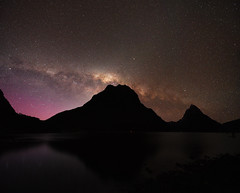 Milford Glow (danhan27) Tags: astro astrophotography astroscape astronomy night sky stars milky way dark light aurora australis southern lights milford sound mitre peak mount phillips fjordland nz new zealand reflections long exposure ngc
