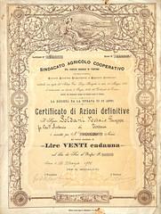 SINDACATO AGRIC. COOP. DEL COMIZIO AGRARIO DI TORTONA (scripofilia) Tags: 1901 agrario agricolo azioni comizio comizioagrario cooperativo sindacato tortona