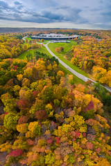 Fall colors of IBM Research HQ, Yorktown Heights, NY (dhilung) Tags: ibm ibmresearch ibmresearchhq ibmresearchheadquarter aerialvertorama aerialphotography vertorama panorama fall autumn newyork yorktownheights ibmthomasjwatsonresearchcenter tjwatson watson ibmwatson dji phantom phantom3pro drone
