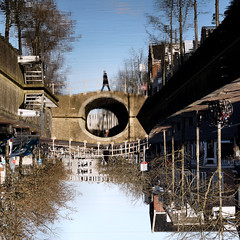 Skydiver (d_t_vos) Tags: skydiver walker walk walking bridge sky reflection reflections reflecting seethrough water canal towncanal moat trees cars building buildings pier jetty upsidedown topsyturvy street streetphotography voorstreek leeuwarden dickvos dtvos