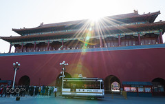 Forbidden City (DRoofing163) Tags: autumn yellow sky red city street travel sun outside urban architecture bright lens flare culture warmth china beijing forbidden tourists against photography brick police van