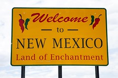 Welcome To New Mexico (Parkwest Air Tours) Tags: chili colors enchantment english fiesta green land letters metal mexico new peppers red reservation road sign sky spicy state usa welcome yellow