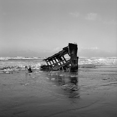 The Wreck of the Peter, Iredale, Oregon (austin granger) Tags: peteriredale wreck shipwreck oregon fortstevens iron skeleton evidence hull bow rust time impermanence film gf670 square