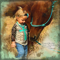 Andie-and-her-horse748x748 (laxwings) Tags: children horse textures nozzle photoartistry kaizen awake grunge