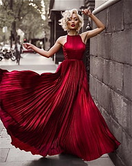 5ae04f991c91411be9c7cfeb30f6b0ef (npeter50) Tags: pleated red dress