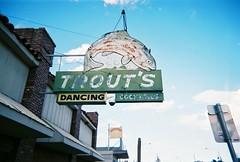 Trouts (jfpj) Tags: bakersfield california bar neon sign signage vintage vintagesign film fuji fuji400film lowresolution plasticcamera plasticlens plastic toycamera trashcam jazz207 jazzjelly trout