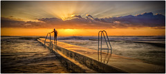 Lady at Austinmer (Jo Langtry) Tags: 2016 focus nsw november2016 oceanpool pool rocks sigma35f14 sonya7r wollongong beach clouds ocean sunrise
