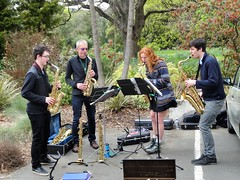 Dunedin. In the Botanic Gardens at rhododendron time. A jazz band. (denisbin) Tags: dunedin botanicgardens rhdodoendron portchalmers otagoharbour hulmescourt victorian gothic shags taiaroaheads music instruments youngwoman players youngmen saxaphone redhair redhead