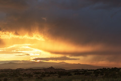 Nambe, New Mexico ([ raymond ]) Tags: landscape nambe sunset 0b5a6372 southwest americansouthwest desert monsoon season weather storm awesome nature outdoors color clouds mountains sunlight