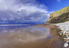 Landslide (pauldunn52) Tags: whitmore stairs which beach glamorgan heritage coast wales storm blue wet sand reflections