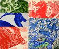 William de Morgan tiles (robmcrorie) Tags: william de morgan tiles arts crafts 19th century merton abbey fulham chelsea eagle snark fish river fantastic duck hippocamp antelope boar pig