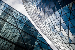 Overbearing Buildings (Sean Batten) Tags: architecture london england unitedkingdom gb thegherkin windows glass reflection nikon df 2470 city urban financialdistrict 30stmaryaxe building