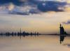 Fahrenheit 451 (Gio_guarda_le_stelle) Tags: skyline dubai sunset artwork landscape reflection fahrenheit451