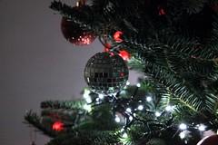 Glitterball (Heaven`s Gate (John)) Tags: glitterball christmas tree season festive ball bauble decoration needle fir indoor lights electric night atmosphere johndalkin heavensgatejohn solihull england white red gree