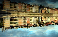 Saône river banks (Croix-roussien) Tags: reflection lyon upsidedown facades reflet insolite nationalgeographic saone potd:country=fr