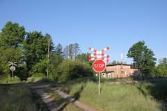 Level crossing , Modła train station 21.05.2014 (szogun000) Tags: road railroad station sign canon crossing tracks poland polska rail railway dirt signals platforms pkp lowersilesia dolnośląskie dolnyśląsk modła canoneos550d canonefs18135mmf3556is d29275 d29314