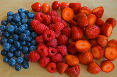 Fruity Colour Scheme (Lgh95) Tags: blue red food colour fruit garden cherry healthy strawberry cherries yum bright strawberries blueberry raspberry colourful raspberries fruity homegrown blueberries vitamins