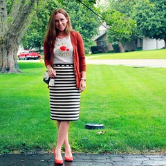what to wear with a pencil midi skirt