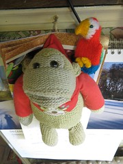 chimp with his parrot (squeezemonkey) Tags: monkey chimp parrot knitted tetford