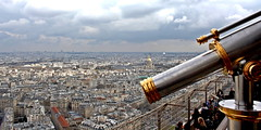 A view over Paris (A guy called John) Tags: from above city sky urban paris france tower skyline architecture clouds buildings observation coin cityscape view cloudy machine eiffel tourist deck binoculars telescope viewer
