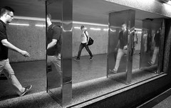 Metro 15 (Magdalena Roeseler) Tags: street bw black men art lines metro walk candid fineart streetphotography olympus human warsaw sw 12mm monochrom unposed undergound warszawa omd tog em5