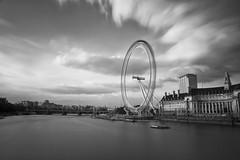 London Eye ([~Bryan~]) Tags: uk longexposure sky bw cloud london architecture movement londoneye landmark h le daytime riverthames ndfilter nd110 14stops bwnd