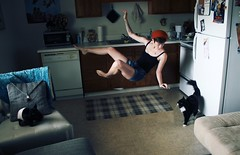 learning flight (peculiarnothings) Tags: portrait selfportrait kitchen cat self fly levitate