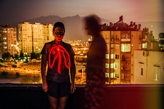 Breathe (Melissa Maples) Tags: roof summer woman selfportrait lightpainting mountains me skyline night turkey evening nikon asia jane dusk trkiye melissa antalya brunette nikkor maples vr afs  lightwriting 18200mm  f3556g  18200mmf3556g d5100