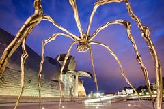 GOLDEN SPIDER (Rober1000x) Tags: longexposure summer museum architecture night spider spain arquitectura europa europe downtown steel bilbao espana guggenheim bluehour basque modernarchitecture bilbo paisvasco frankghery 2014 euskadia