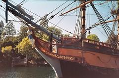 The Sailing Ship Columbia (Anne Abscission) Tags: california 35mm boat ship disneyland 200asa columbia anaheim olympusxa2 themepark tomsawyerisland frontierland expiredfilm agfavista filmphotography riversofamerica sailingshipcolumbia pirateisland