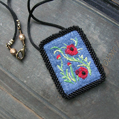 Poppies Necklace (Sylvia Windhurst) Tags: necklace embroidery poppies fiberart recycle redflowers repurpose beadweaving beadembroidery