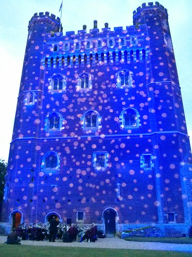 Tattershall Castle - An impressive projection on Tattershall castle with the band in front.