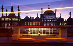 Night Life (Alan MacKenzie) Tags: longexposure sussex twilight brighton dusk busshelter lighttrails royalpavilion brightonbuses brightonhovebuses brightonandhovebuses