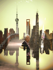 Remix (Roy Cheung Photography) Tags: china old city history look yellow skyline modern lady back exposure skyscrapers shanghai chinese remix overlay double elderly pudong effect exposed blend overlap lujiazui