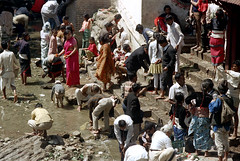 22-671 (ndpa / s. lundeen, archivist) Tags: nepal people color men film water kids 35mm children temple 22 clothing women nick crowd steps clothes wash bathe bathing 1970s visitors washing allrightsreserved nepali pilgrims dewolf worshipers pharping templegrounds dakshinkali nickdewolf photographbynickdewolf dakshinkalitemple reel22 thenickdewolffoundation imageuserequestsarewelcomeviaflickrmailornickdewolfphotoarchiveatgmaildotcom