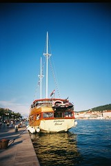 The boat back to Trogir from Okrug Beach (Rabea G) Tags: 35mm croatia okrugbeach eximuswideandslim