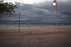SIGNS (RebeccaMich) Tags: lake signs storm beach clouds contrast dark pentax michigan great lakes poles k10d pentaxk10d puremichigan puremi